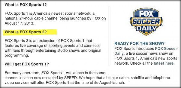 fox sports 2 leak1 600x293 FOX Announces Launch of FOX Sports 2 By Accident