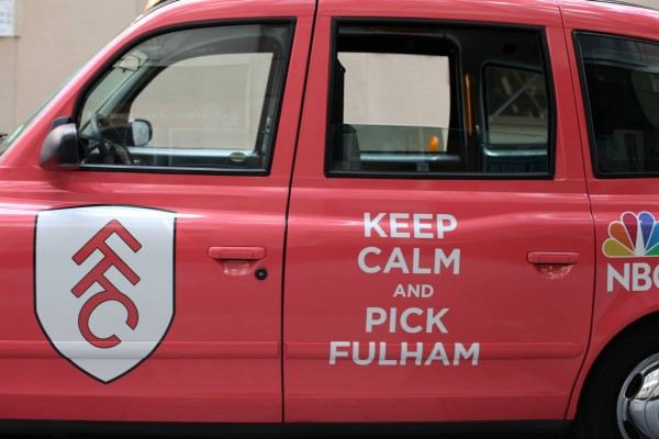 fulham taxi cab 600x400 New Photos of London Taxi Cabs in Premier League Team Colors In New York City [PHOTOS]