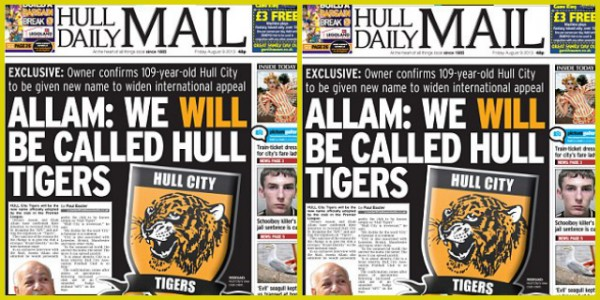 hull tigers daily mail 600x300 Premier League Refuse to Endorse Hull Tigers Name Change