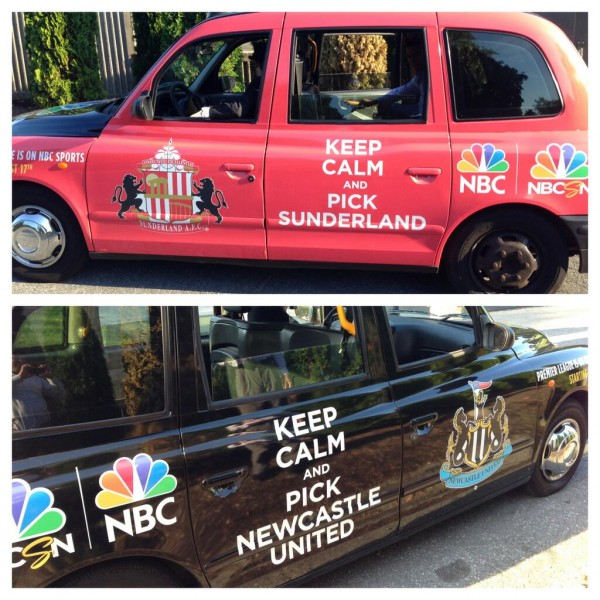 nbc epl taxi cab nyc 600x600 Premier League Taxis Hit the Streets of New York City to Promote NBC EPL Coverage [PHOTOS]