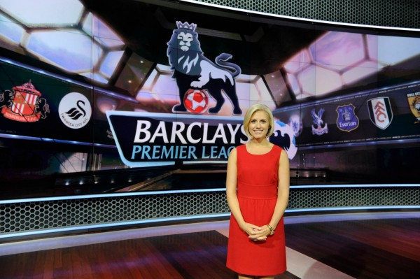 nbc premier league rebecca lowe 600x399 Behind the Scenes of NBCs Premier League Set [PHOTOS]