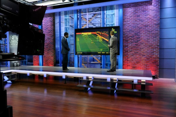 nbc premier league video analysis 600x399 Behind the Scenes of NBCs Premier League Set [PHOTOS]