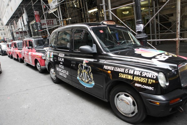 newcastle taxi cab 600x400 New Photos of London Taxi Cabs in Premier League Team Colors In New York City [PHOTOS]