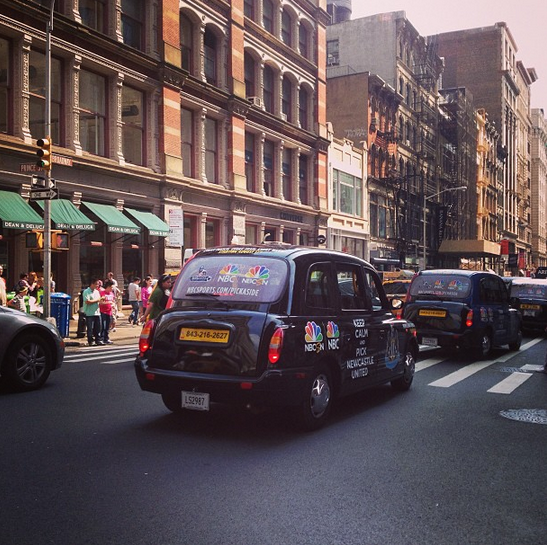 newcastle united nyc taxi nbc Premier League Taxis Hit the Streets of New York City to Promote NBC EPL Coverage [PHOTOS]