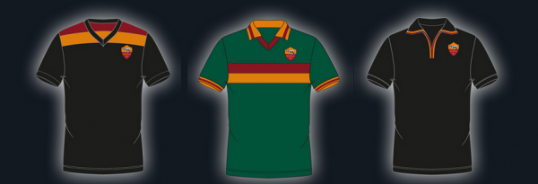 roma third shirt choices 600x205 AS Roma Away Shirt for the 2013 14 Season Plus Third Shirt Choices [PHOTOS]