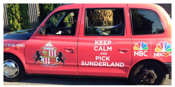 sunderland1 New Photos of London Taxi Cabs in Premier League Team Colors In New York City [PHOTOS]