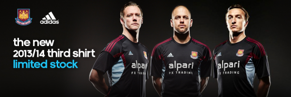 west ham third shirt group 600x200 West Ham United Third Shirt for the 2013 14 Season [PHOTOS]