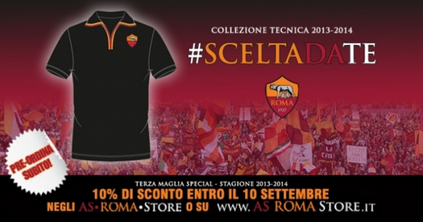 as roma third shirt banner 600x316 AS Romas Third Shirt for the 2013 14 Season, Chosen By Their Supporters [PHOTOS]