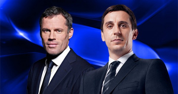 gary neville jamie carragher 600x318 Monday Night Football With Gary Neville and Jamie Carragher: Ashley Young Diver and Scholes vs Gerrard [VIDEO]