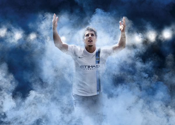 man city third kit jovetic 600x429 Manchester City Third Shirt For 2013 14 Season: Official [PHOTOS]