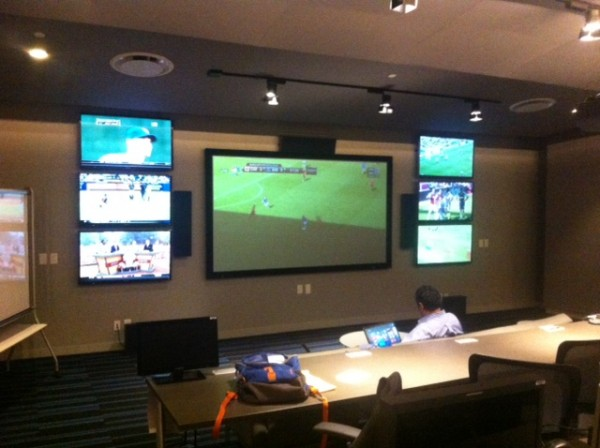 nbc screening room1 600x448 Inside NBCs Coverage of the English Premier League: A Typical Saturday at NBC Studios