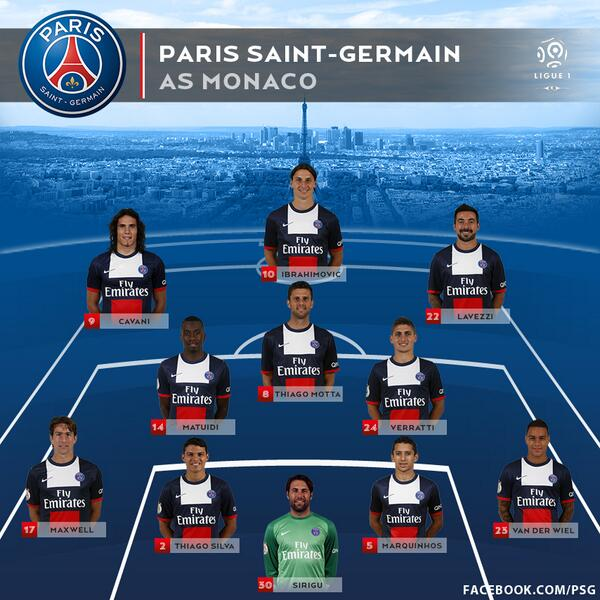 psg lineup Paris Saint Germain vs Monaco, Ligue Un Gameweek 6: Open Thread