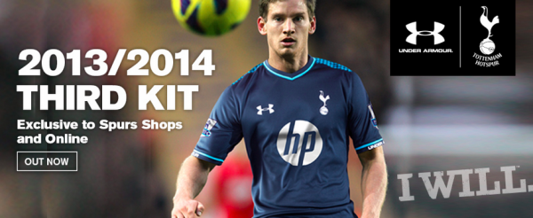 spurs third shirt 600x246 Tottenham Hotspur Third Shirt for 2013 14 Season: Official [PHOTOS]