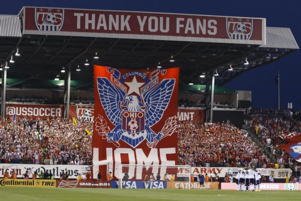 usmnt tifo 600x400 Incredible Scenes of US Soccer Fans Celebrating 2 0 Win vs Mexico Including US Players Chugging Beer [VIDEO]
