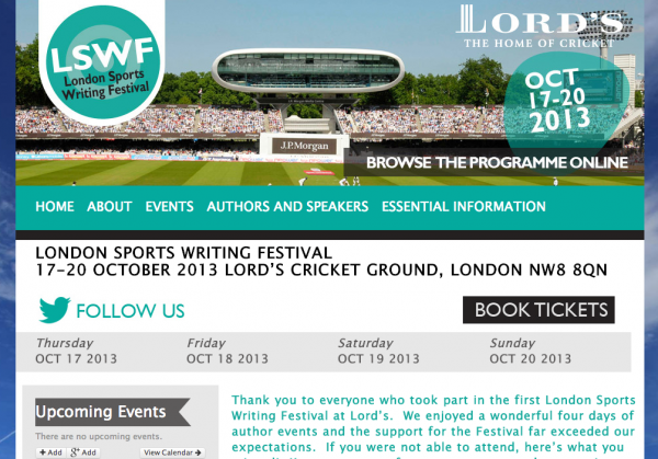 London Sports Writing Festival 600x419 Inaugural London Sports Writing Festival Illuminates Lords Cricket Ground