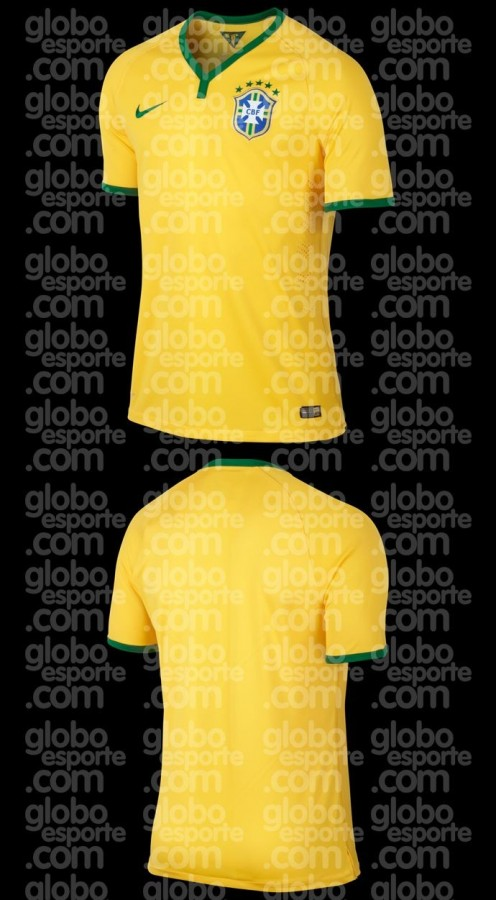 brazil home shirt front 496x900 Brazil Home Shirt for 2014 World Cup: Leaked [PHOTOS]