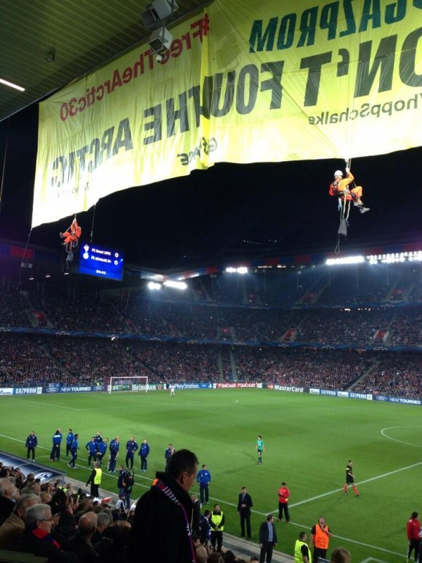 greenpeace protesters four 600x800 Basel Schalke Champions League Match Interrupted By Greenpeace Protesters [PHOTOS]