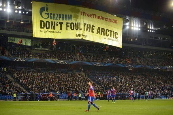 greenpeace protesters three Basel Schalke Champions League Match Interrupted By Greenpeace Protesters [PHOTOS]