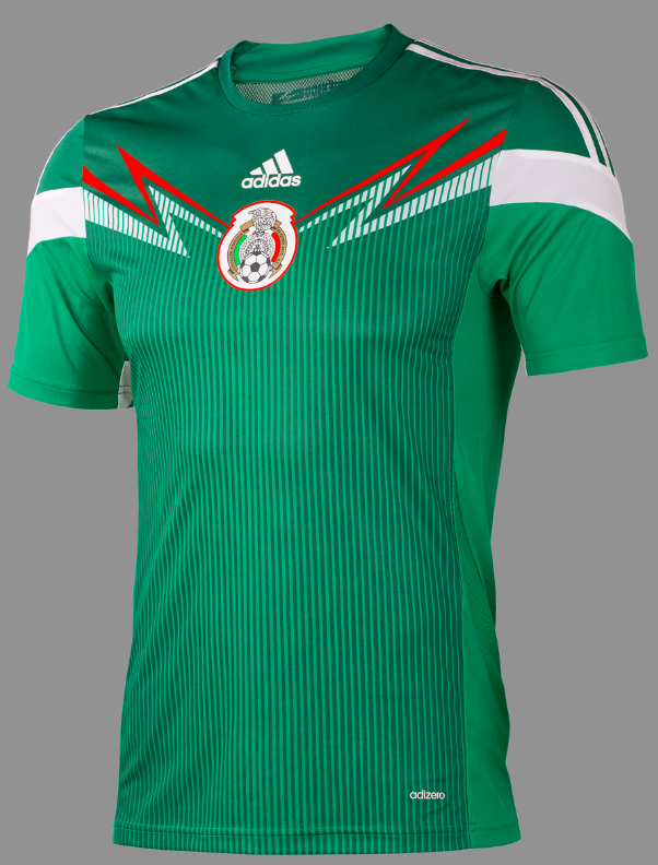 mexico home shirt front adidas Unveils Mexico Home Shirt For 2013/14 Featuring Innovative Design [PHOTOS]