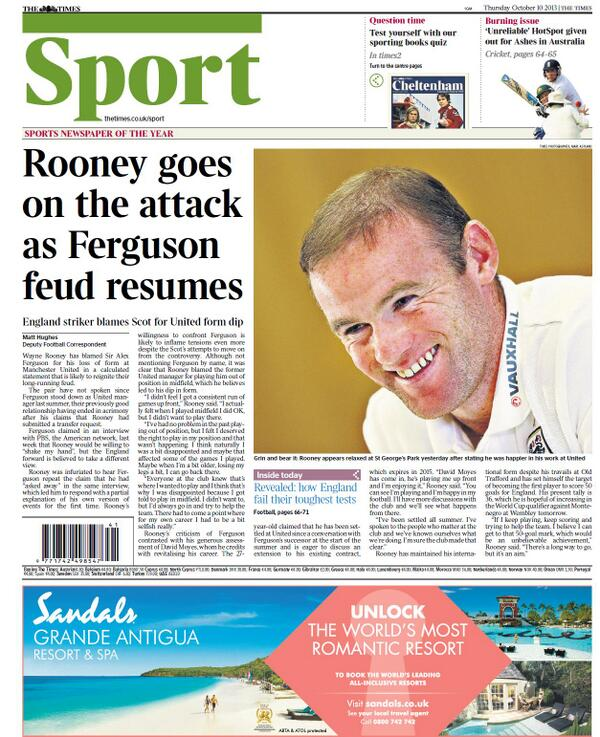 rooney the times Man Uniteds Wayne Rooney Reignites Fergie Feud, Blaming The Scot for His Poor Form Last Season: Nightly Soccer Report