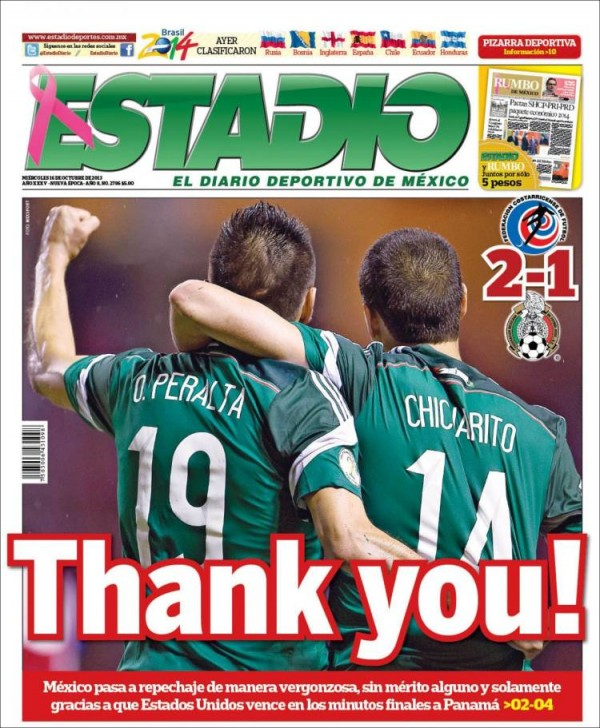 thank you 600x728 Front Covers Of Mexico Newspapers Praising USA Soccer Victory [PHOTOS]
