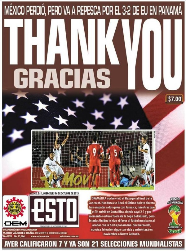 thank you gracias 600x809 Front Covers Of Mexico Newspapers Praising USA Soccer Victory [PHOTOS]