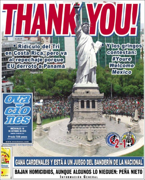 thank you liberty 600x744 Front Covers Of Mexico Newspapers Praising USA Soccer Victory [PHOTOS]
