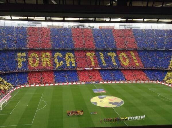 tito tifo barcelona Barcelona Fans Unveil Mosaic to Show Support For Tito Vilanova [PHOTO]
