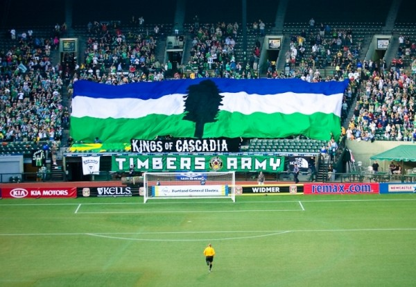 Kings of Cascadia tifo 600x414 Watch Inside The Timbers Army, A Film About How Portland Timbers Fans Create Tifos [VIDEO]