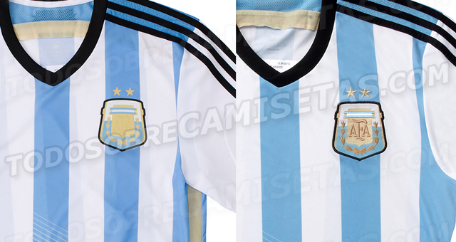 argentina world cup shirt closeup Argentina World Cup Home Shirt For Brazil 2014: Leaked [PHOTOS]