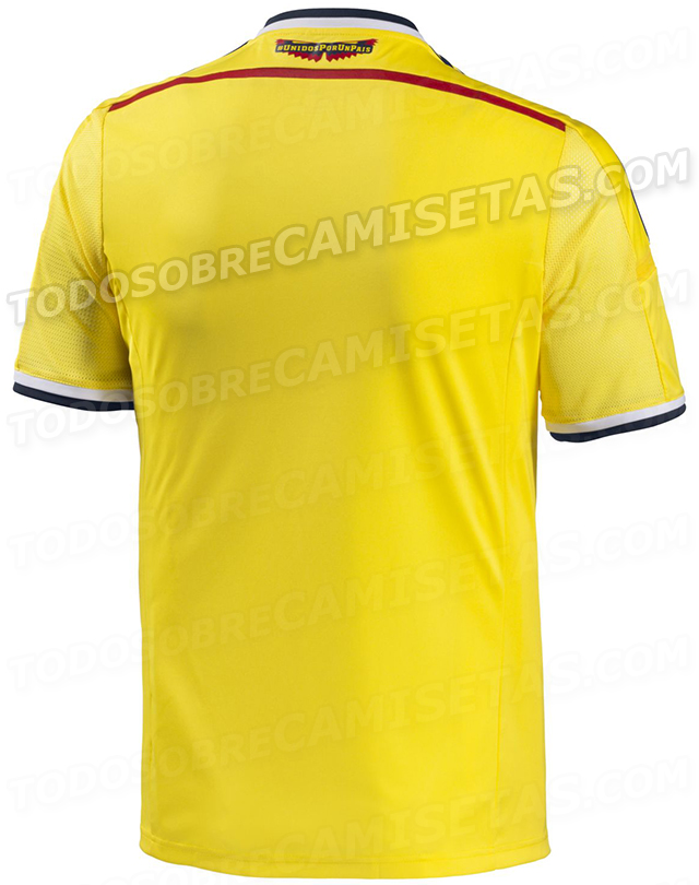 colombia world cup home shirt back Colombia World Cup Home Shirt For Brazil 2014: Leaked [PHOTOS]