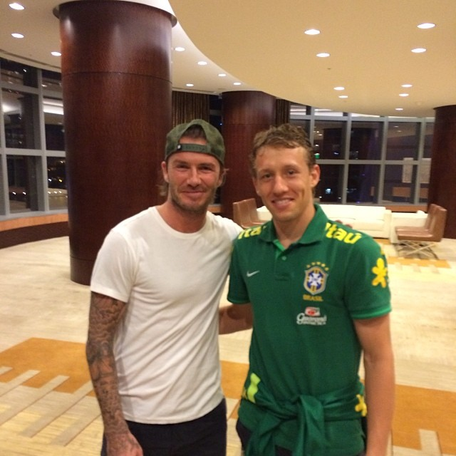 david beckham lucas leiva David Beckham Is In Miami, Hanging Out With Neymar, David Luiz and Lucas Leiva [PHOTOS]