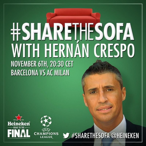 hernan crespo 600x600 Share The Sofa With Hernan Crespo Today For Barcelona vs AC Milan in the Champions League