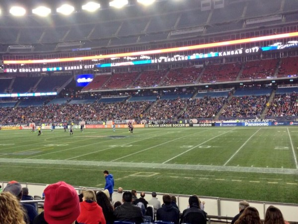 new england revolution field 600x450 MLS Cheapens Soccer Viewing Experience By Playing Games On Gridiron Lines [PHOTOS]