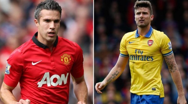 robin van persie olivier giroud 600x333 Manchester United Arsenal Game On NBCSN Scores 3rd Most Viewers Ever For EPL Game On Cable