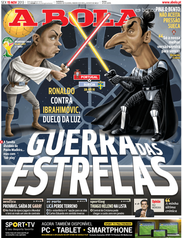 ronaldo ibrahimovic portugal paper 600x782 Cristiano Ronaldo and Zlatan Ibrahimovic Featured As Star Wars Characters On Newspaper Cover [PHOTO]