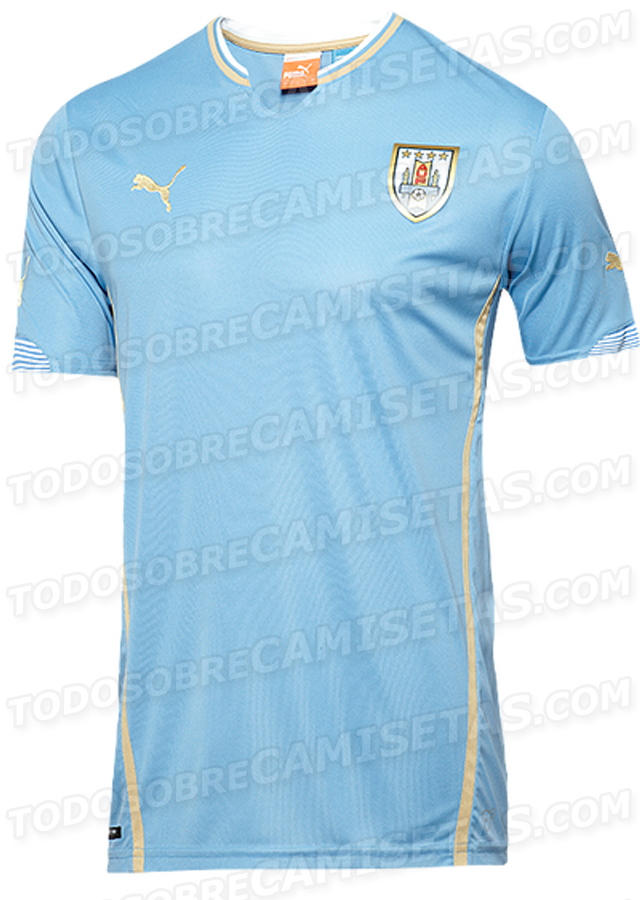 uruguay home shirt world cup Uruguay World Cup Home and Away Shirts For 2014 From Puma: Leaked [PHOTOS]
