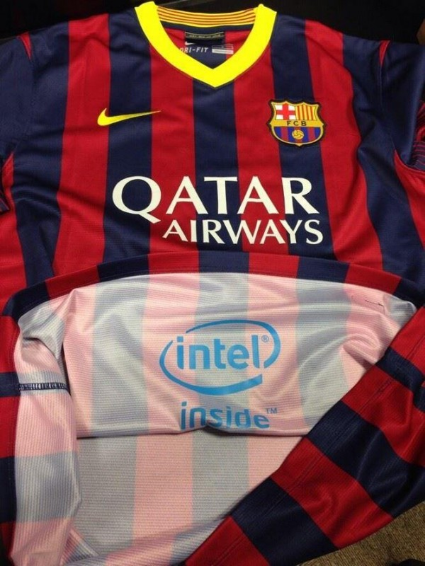 barcelona intel shirt 600x800 Intel Signs Innovative Sponsorship Deal With FC Barcelona to Advertise On Inside of Shirt: Daily Soccer Report