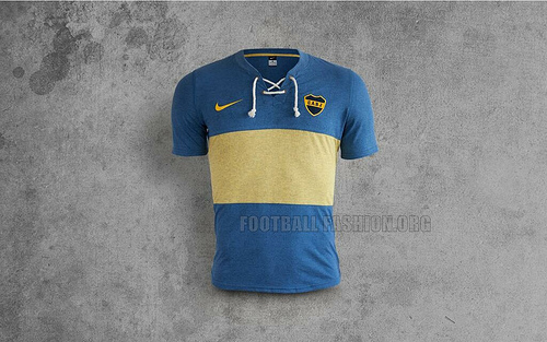 boca juniors 2014 retro shirt front Boca Juniors Home Shirt For 2014 Featuring A Retro Design From Nike [PHOTOS]