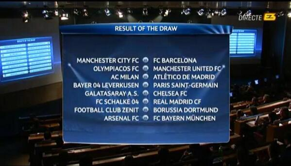 champions league draw UEFA Champions League Draw for the Round of 16 Revealed
