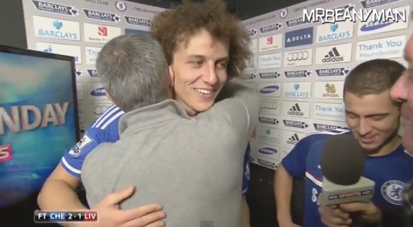 david luiz jose mourinho 600x330 Jose Mourinho Barges Into David Luiz and Eden Hazard Post Match Interview On Live TV [VIDEO]