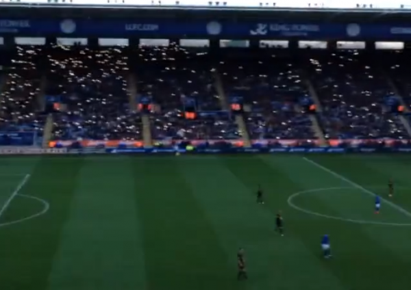 leicester city fans 600x424 Power Goes Out But Soccer Fans Use Cellphones to Illuminate Stadium [VIDEO]