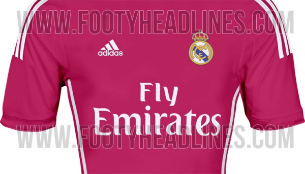 real madrid away shirt 2014 15 season 600x343 Real Madrid Away Shirt for 2014/15 Season; And Its Pink! Leaked [PHOTO]