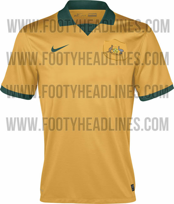 australia world cup shirt home Australia Home and Away Shirts For World Cup 2014: Leaked [PHOTOS]