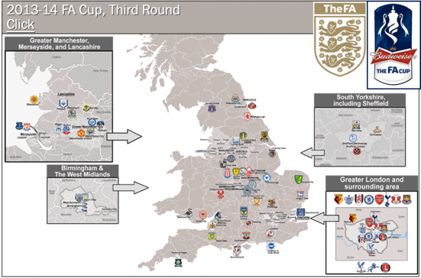 billsportsmaps fa cup 600x396 A Glorious FA Cup Third Round Tradition Is Here: The FA Cup Map From Billsportsmaps