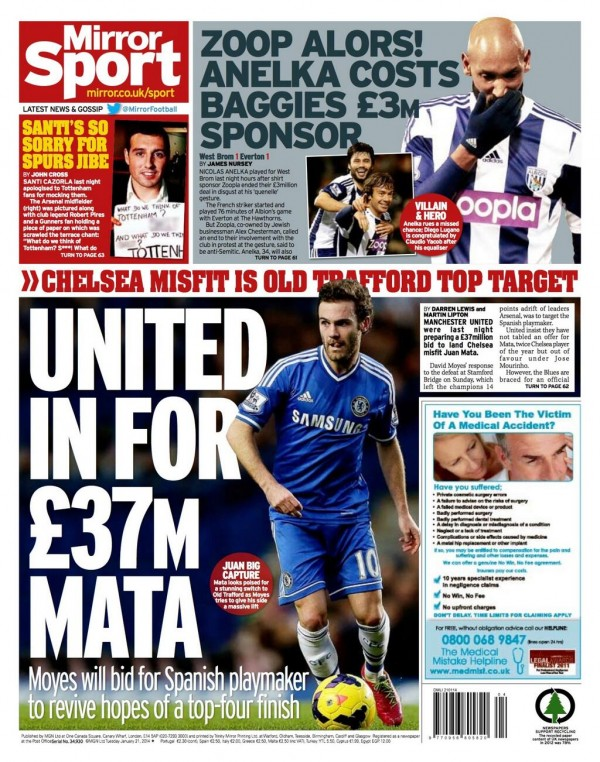 daily mirror back page 600x762 Juan Mata Move to Manchester United Breaks Two Unwritten Rules Of Football Transfers