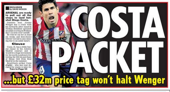 diego costa Diego Costas £32million Buy Out Clause Wont Halt Arsenal, Says Report