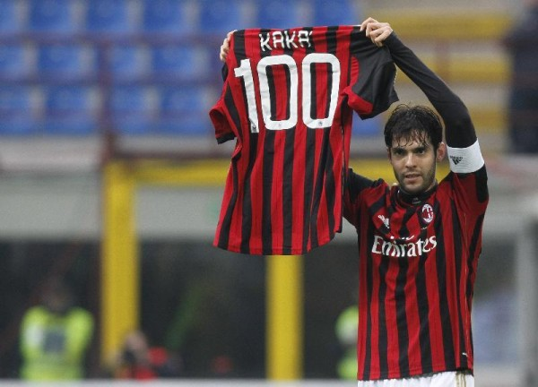 kaka 100 ac milan goals 600x432 WATCH Kaka Scores His 100th AC Milan Goal; Italian TV Presenter Goes Berzerk [VIDEO]