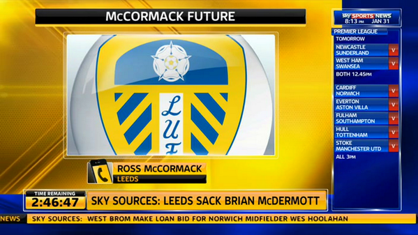 ross mccormack sky sports WATCH Ross McCormacks Reaction Live On Sky Sports to Leeds United Manager Brian McDermott Getting Sacked [VIDEO]