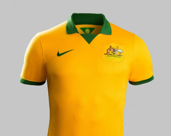 australia world cup home shirt front 600x479 Australia Home Shirt For World Cup 2014: Official [PHOTOS]